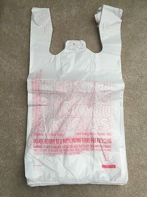 New 100ct Large 16 Thank You T-shirt Plastic Grocery Shopping Bags With Handle