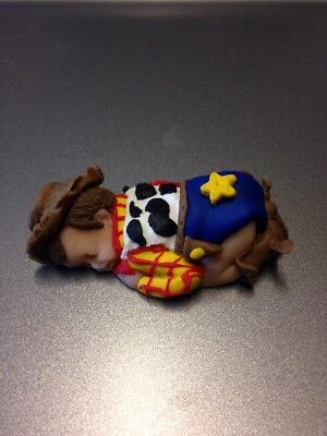 """OOAK 2.5"""" Woody Toy Story Sleeping Polymer Clay Baby Cake Topper Figurine Gift"""