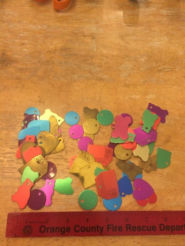 50+ Engravable Metal Blank Pet ID tags in unused Condition assorted Cat Dog