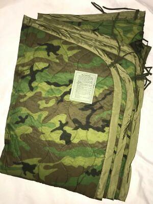 US Military Woodland Camo Poncho Liner WOOBIE Blanket USGI MILITARY SURPLUS EXC. Woodland Camo Poncho Liner