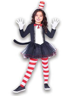 Cat In The Hat Costume For Girls (Kids Cat In The Hat New Fancy Dress Costume Set Girls Dr Seuss Book Week)