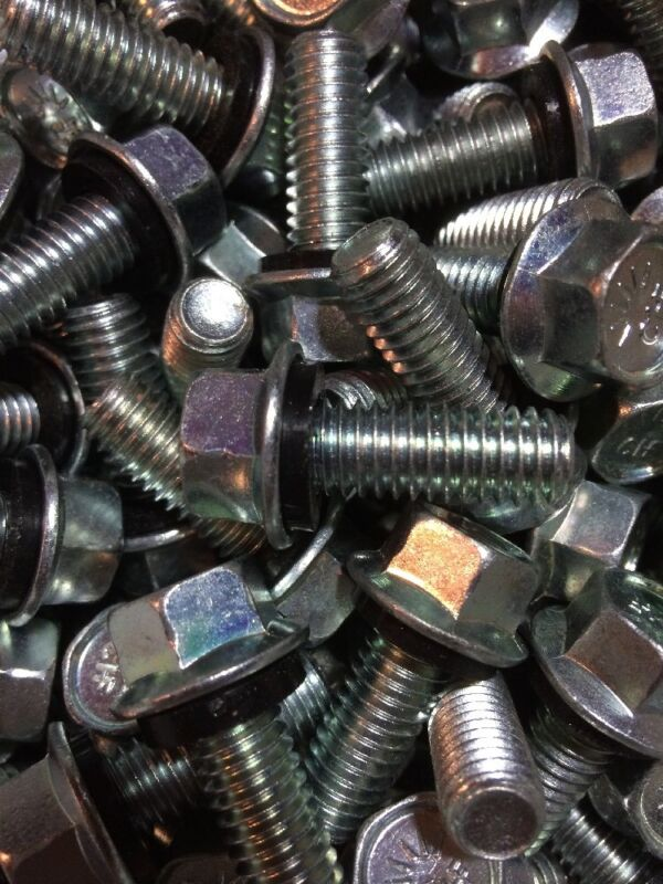 """(50) 3/8""""-16 Thread X 1"""" hex flange bolts Grade 8 Grain Bin W/seal washer."""