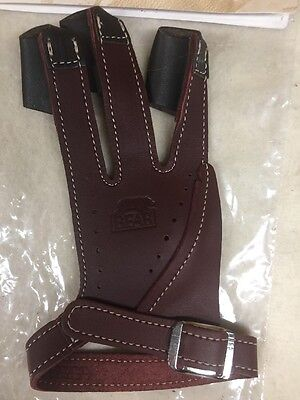 Bear Archery Traditional Glove  by Neet Products Brown Leather Left Hand Large