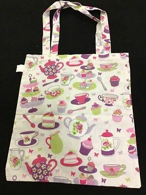 ❤️ Teacup pink roses cupcake PARIS French script Reusable Shopping Tote Bag ❤️