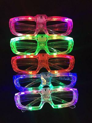 8 PCS LED Shutter Glasses Light Up Shades Flashing Rave Wedding Party - Light Up Shutter Shades