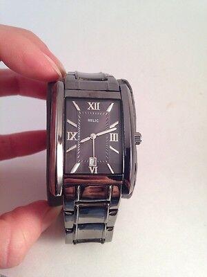 Relic By Fossil Mens Rectangular Black Gunmetal Tuxedo Quartz Watch Zr77109 H78