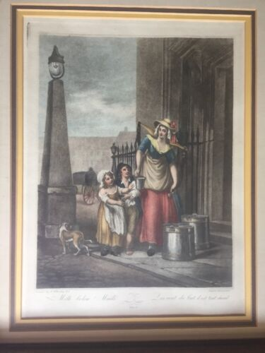 Antique F. Wheatley Hand Colored Engraving Milk Below Maids Plate 2 - $45.00