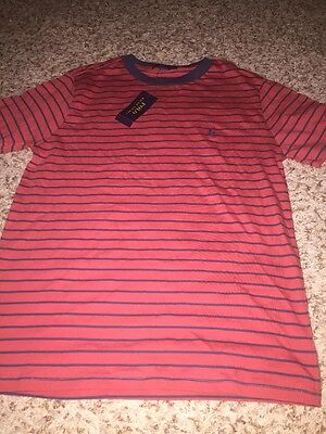 Boy Ralph Lauren Polo Shirt S/S -  Large 14- 16 Red /Blue Striped W/ Pony Logo