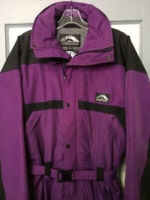 Vtg Mens One Piece Ski Snowsuit Jumper Coveralls Retro Purple Medium Onesy 90s 1