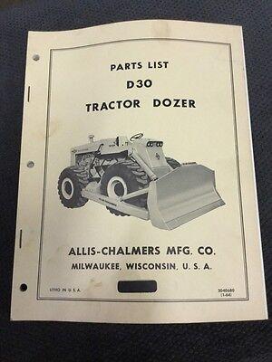 Vintage Allis Chalmers D30 Tractor Dozer Parts List