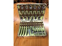 Vintage Dining Cutlery Set in a Faux Snakeskin Box *Retro Dining* Gift set