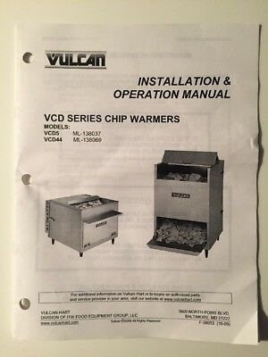 User Manual Vcd5 Vcd44 Vulcan Chip Warmer Oem New Cooking