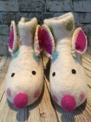 NWT Hand Woven Felted Wool Artisan Toddler Mouse Booties/Slippers Midwest CBK