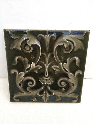 Old Vintage Antique 6x6 AE American Encaustic Co Art Pottery Glazed Ceramic Tile