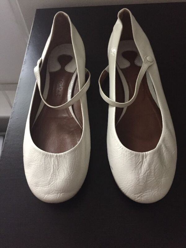 Chloe White Patent Leather Flats With Strap Mary-Jane