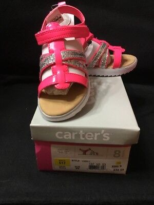 GIRLS CARTER'S LINDA PINK/SILVER SANDALS 6M - BRAND NEW IN BOX $35