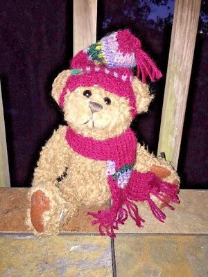 "Brass Button Pickford Bears Dooley Ski Hat & Scarf Bear 9"" Bear of Friendship"