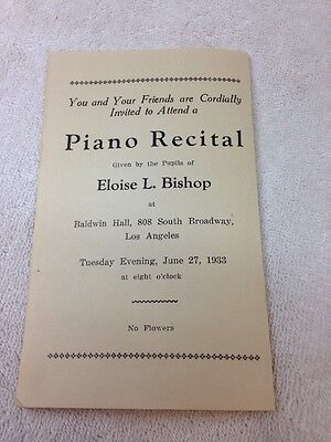 Vintage PIANO RECITAL PROGRAM Students Of Eloise L. Bishop, 1933, Los Angeles CA