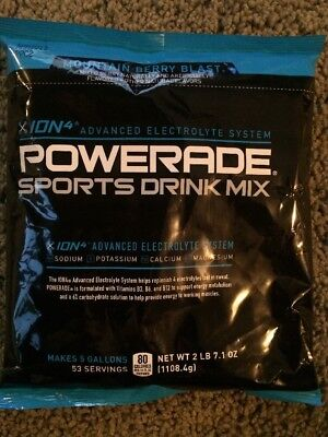 Powerade  Makes 5 Gallons Sports Drink Mix  Mountain Berry Blast  Free Shipping