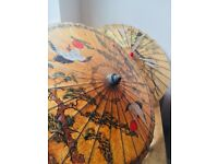 2x Vintage Japanese Parasol Bamboo 32'' Umbrella Paper Painted