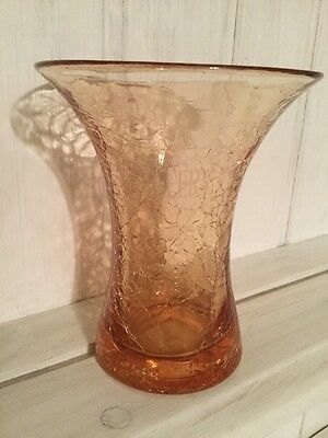 vintage crackle glaze glass celery vase