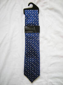 M&S Pure Silk Happy Fathers Day Mens Tie - Brand New with Tags - Perfect Father's Gift - Navy Blue