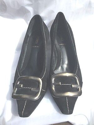 Fendi Shoes Women's Black Suede Pump Size 7 US 37.5 EURO Made in Italy LKNW