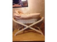 Solid wicker Moses basket with stand and hood
