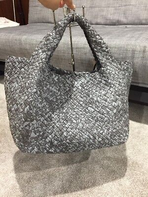 Falorni FALOR GREY -Hand Woven Italy Intrecciato Leather Tote #1855~NWT -XL