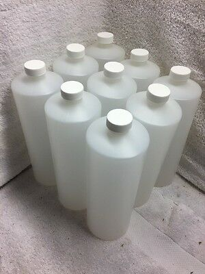Lot Of 9  Silgan Plastics 32Oz Bottles Hdpe Cylinder Natural  Round  Capped