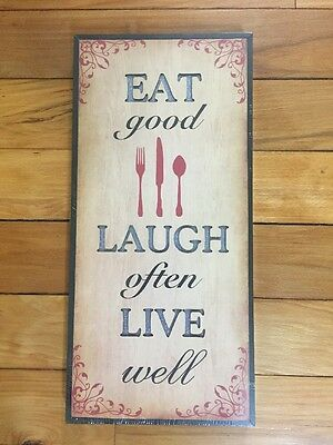 Eat Laugh Live Inspirational Wall Hanging Spoon Fork Utensil Lighted Wall Art
