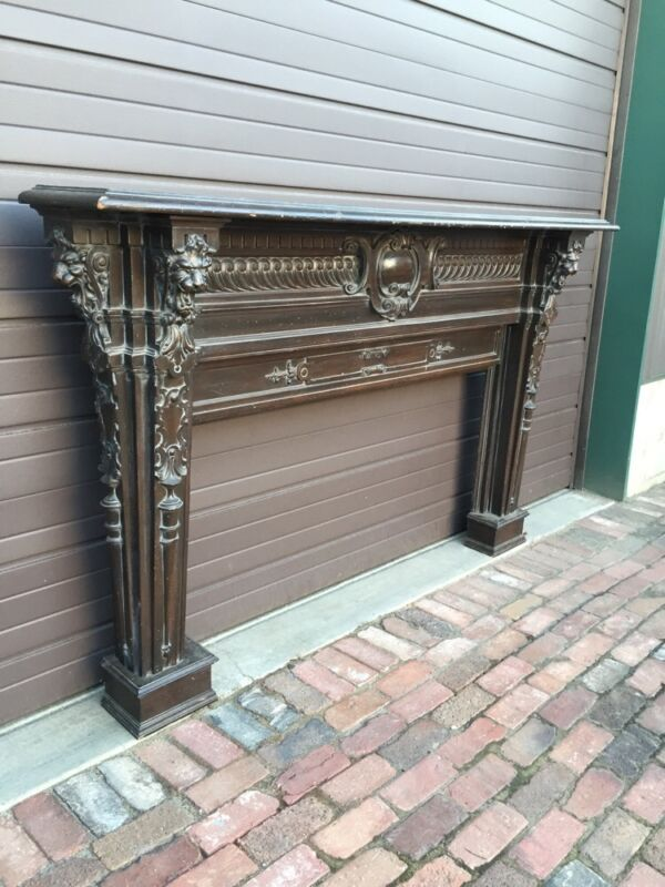 Magnificent Carved Oak Fireplace Mantle With For Lionhead