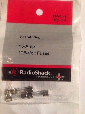 Radioshack 15-amp 125v 5x20mm Fast-acting Glass Fuse 1 Pack Of 4 270-0149 New