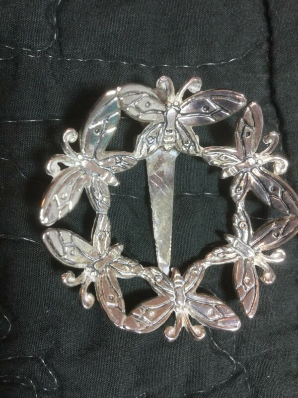 Silver Butterfly Circle Scarf Hair Clip Pin Brooch Signed Emilia Castillo Neiman