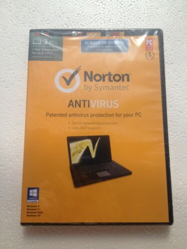 Norton Antivirus KEY Card For A ONE Year Subscription For 3 PC'S