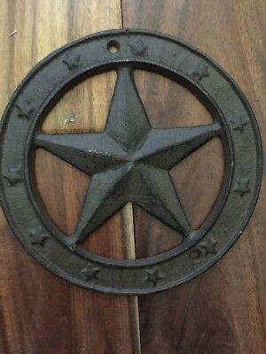 Cast Iron Texas Star Wall Plaque Western Theme Farmhouse Ranch Office Man 7-5/8