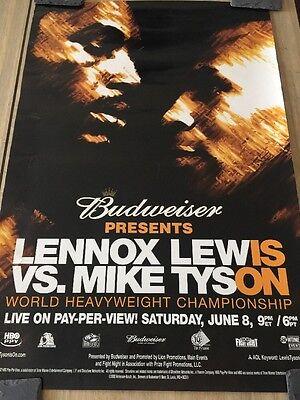 MIKE TYSON vs. LENNOX LEWIS / Original Budweiser Fight Sponsors Boxing Poster