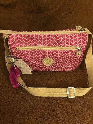 NWT Kipling Bag Pink & White Cheveron design with Pink Monkey, NEW! - Pink Cheveron