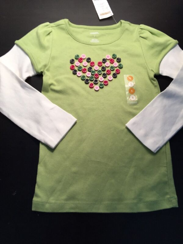 NEW Gymboree Pups N Kisses Size 5 Green Top Double Sleeve Button Heart Rare HTF