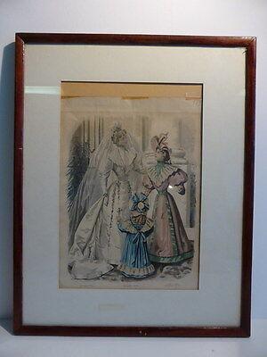 GRAVURE DE MODE ABEL GOUBAUD MARIEE ET DEMOISELLE HONNEUR 1893 SIGNEE NUMEROTEE