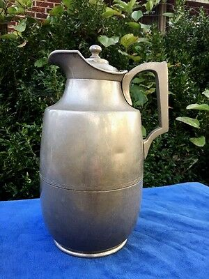 Antique Pewter Porcelain Mirror Lined Coffee Tea Pot Meriden MANNING BOWMAN USA