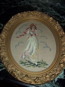 pair of needle point picture.