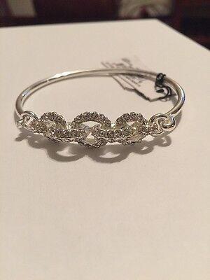 - Anne Klein 60422474-G03 Silver-Tone Crystal Pave Bangle Bracelet A118