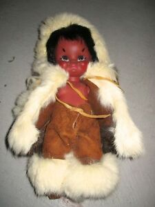 Vintage Indian Doll with Fur Trimmed Outer Wear