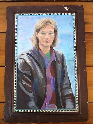 Vtg 80s Outsider Cool Dude Mullet Leather Jacket Acrylic Painting Cabinet Door
