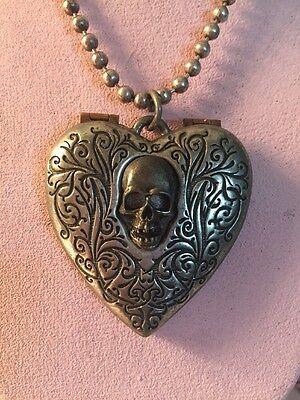 Skull Heart Heart Mirror Pendant Vintage Alchemy Gothic Necklace Steampunk