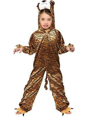 Kids Childs Wild Tiger Fancy Dress Costume Boys Girls Zoo Animal Jungle Outfit - Childs Tiger Kostüm