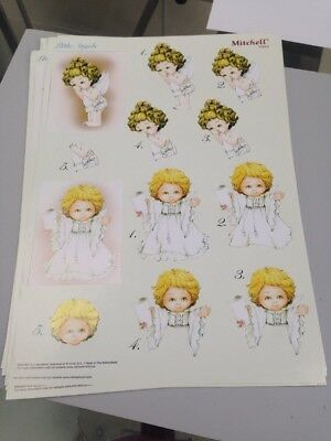 9 A4 Sheets Of Die Cut 3D Card Toppers - Little Angels- Makes 18 Cards