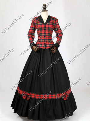 Victorian Dickens Christmas Caroler Holiday Plaid Dress Prairie Costume 122 M - Victorians Costumes