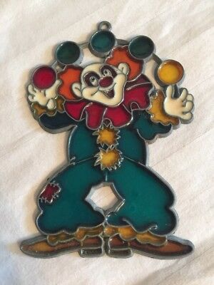 "Clown Suncatcher Faux Stained Glass Leaded Ornament VTG 5""+.  Creepy Happy"